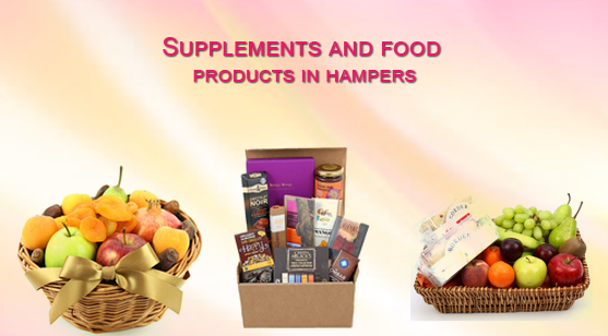 Supplements and food products in hampers